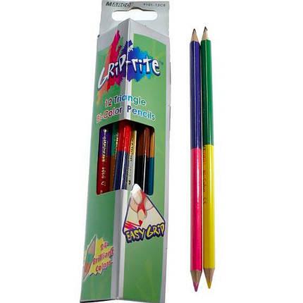 """Карандаши цветные Marco 9101-12СВ 24цвета D2,9мм ,12 шт. 2сторонние треугольные """"Grip-rite"""", картонная коробка с подвесом, фото 2"""