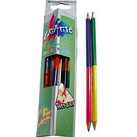 """Карандаши цветные Marco 9101-12СВ 24цвета D2,9мм ,12 шт. 2сторонние треугольные """"Grip-rite"""", картонная коробка с подвесом"""