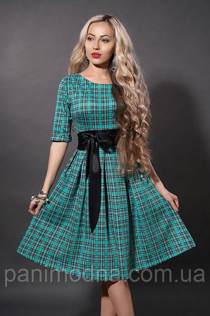 """Модное платье в клетку декорировано поясом  - """"Мишель"""" код 381"""