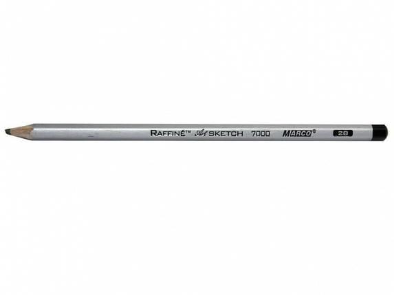 Олівець чорнографітний Marco FM7000DM 12CB 2B шестигранний без гумки заточений сірий метал, фото 2
