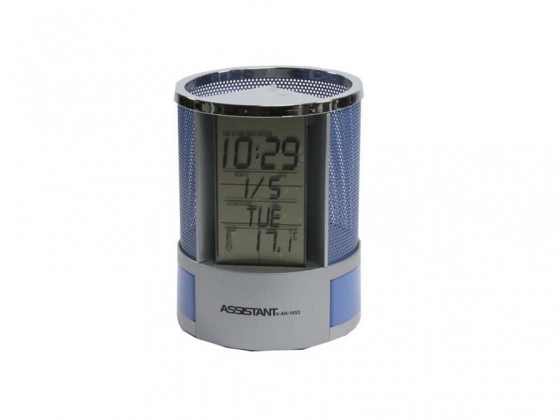 Часы настольные Assistant АН-1053 синий многофункц с подст д/руч 95х95х125