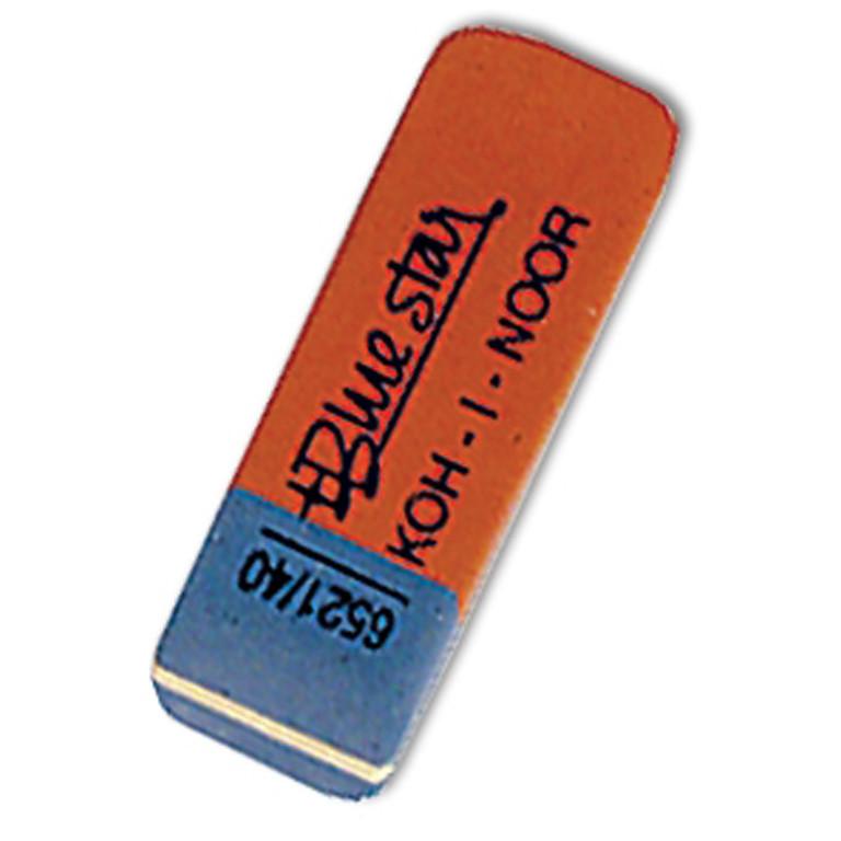 """Ластик Koh_i_Noor 6521/40 червоно-синій клиновид 60х18х8мм каучук """"BlueStar"""""""