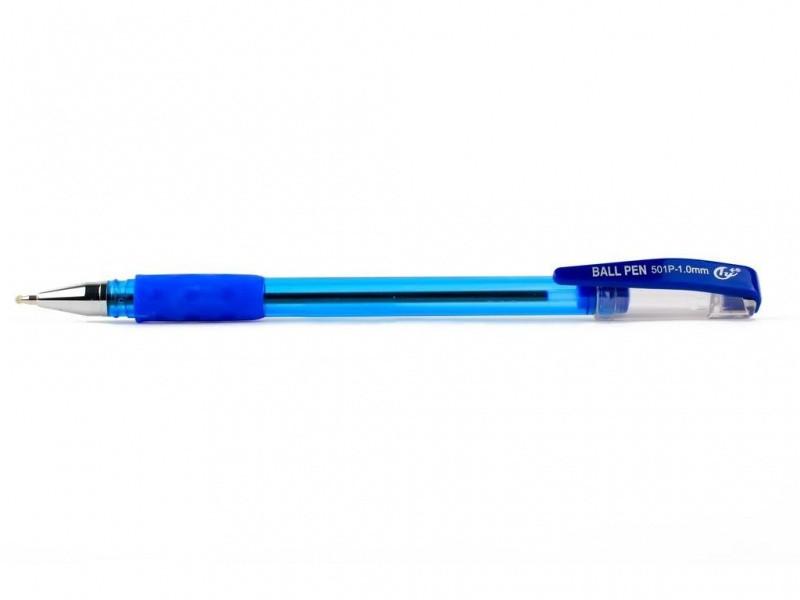 Ручка шариковая Tianjiao TY501P синий 1 мм тонированная резиновый грипп