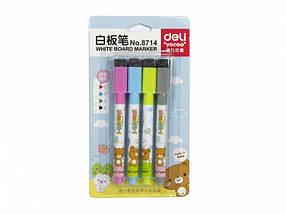 Маркеры для досок Deli 8714 микс набор 4 цвета, детские с губкой, магнитные, фото 3