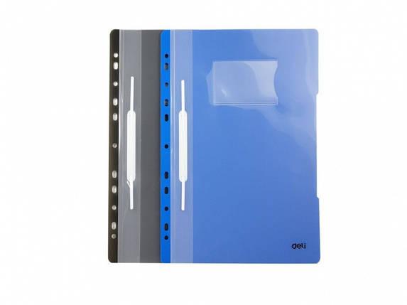 Швидкозшивач Deli 39560 мікс A4 PVC прози верх европерф, з кишенею, фото 2