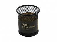 Подставки для ручек Deli 9172Е черный стакан кругл сетка метал D 90 х 98мм