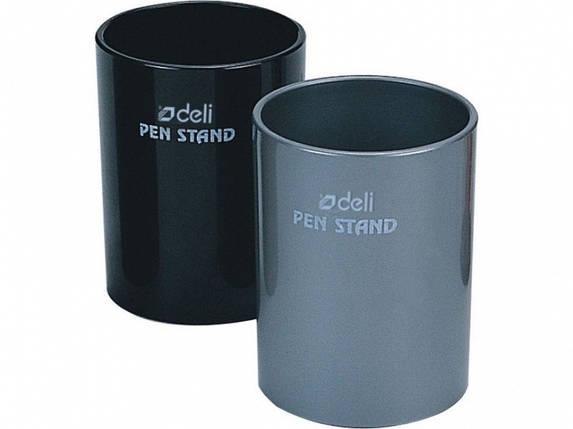 Підставка для ручок Deli 907Е чорний, сірий склянку пласт, фото 2