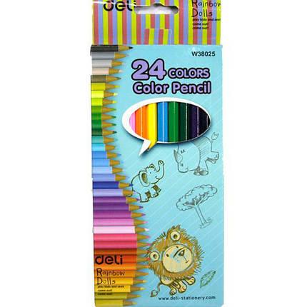 """Олівці кольорові Deli 38025Е 24цвета шестигранні """"Rainbow dolls"""", фото 2"""