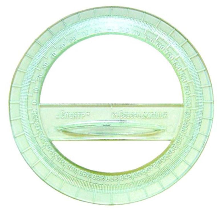 Транспортир Спектр Т-360г 360гр пласт проз цветной кругл