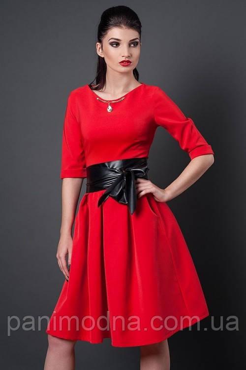 """Стильное платье с красивой юбкой декорировано поясом  - """"Мишель"""" код 381"""