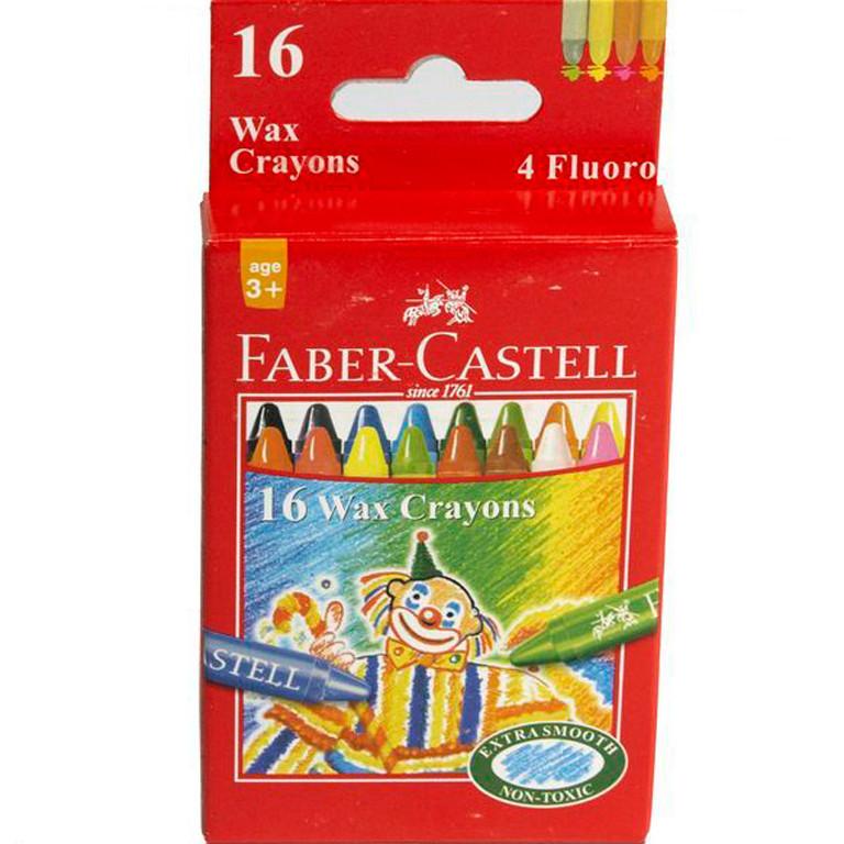 Карандаши цветные Faber_Castell 120050 16цветов 16шт 75мм воск (4флуор.цв)