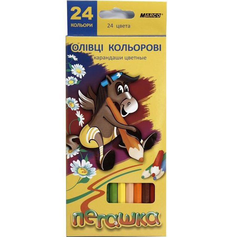 """Карандаши цветные Marco 1011-12CB 24цвета D2,9мм 12 шт. 2сторонние шестигранные """"Пегашка"""", картонная коробка с подвесом"""
