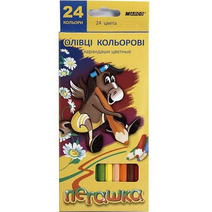 """Карандаши цветные Marco 1011-12CB 24цвета D2,9мм 12 шт. 2сторонние шестигранные """"Пегашка"""", картонная коробка с подвесом, фото 2"""