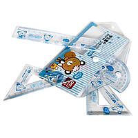 Набор Deli 9596 4пр детский пенал на кноп (лин 15см+2угол+трансп)