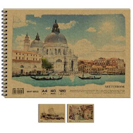 Альбом для малювання Графіка AR4740 40л А4 спіраль 120г/м2 KRAFT, фото 2