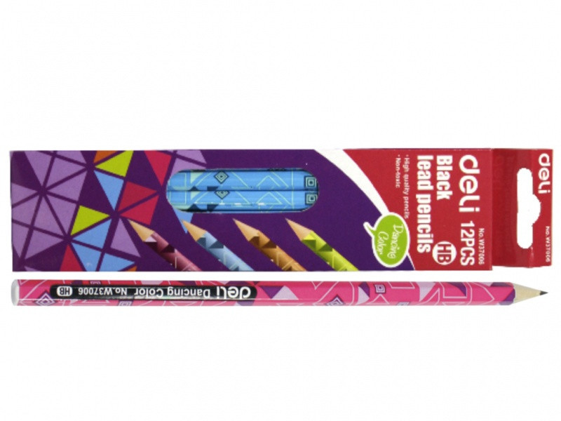 """Олівець чорнографітний Deli 37006 мікс HB шестигранний без гумки заточений """"Dancing Color"""""""