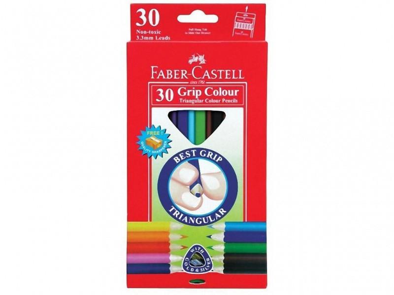 Карандаши цветные Faber_Castell 116530 30цветов треугольные+точилка Jumbo, картонная коробка с подвесом