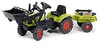 Трактор педальный с прицепом и ковшом CLAAS Arion 410 Falk зеленый