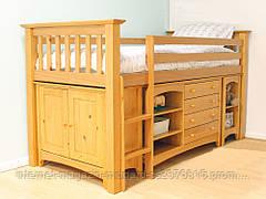Кровать одноярусная Ненси столом, комодом, полками массив дерева