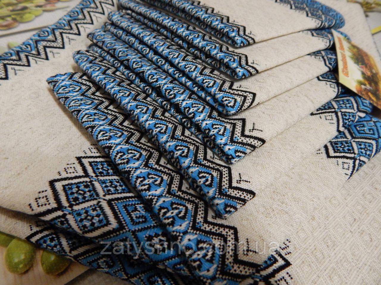 Скатерть с салфетками, голубой комплект