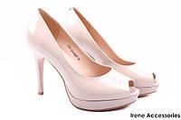 Туфли женские лаковые Lady Marcia натуральная лаковая кожа, цвет беж (изысканные, удобная колодка, каблук)