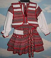 Костюм для девочки (блуза, юбка, жилет), рост 110-116 см, фото 1