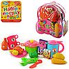 Игрушечная посудка, игрушечные продукты,в рюкзаке