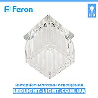 Врезной точечный светильник Feron JD117 матовое стекло, хром