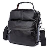Удобная мужская кожаная сумка-барсетка шоколадного цвета