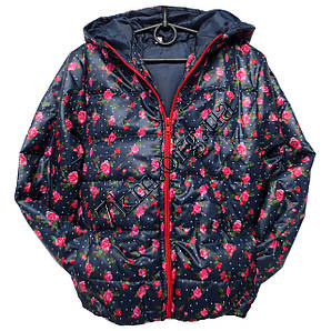 """Куртка детская для девочек 3-7лет """"В розочках-3"""" темно синяя"""