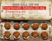 Левитра 40 мг, Zhewitra 40, Дженерик, Индия, 10 таблеток.