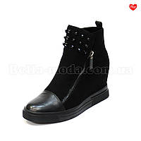 Женские замшевые сникерсы кожаный носок