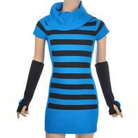 Теплое платье  в контрастную полоску с митенками; 3, 4 года, фото 1