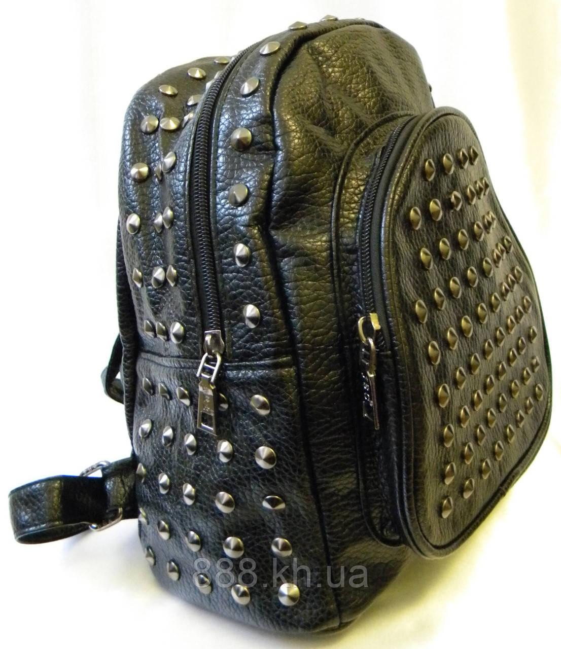 Женский кожаный  рюкзак JSC черный