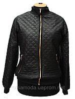 Женская стёганая куртка Sport, черная. Кожа заменитель