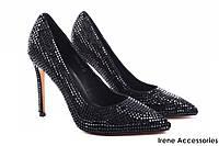 Туфли женские Reuchll натуральный замш, цвет черный (изысканные, удобная колодка, каблук)