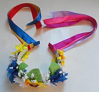 Детский украинский веночек с лентами, фото 1