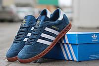 Мужские кроссовки ADIDAS HAMBURG, замша, темно голубые / кроссовки мужские Адидас Гамбург, замшевые, модные