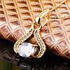 Женская подвеска кулон с цирконом 18K позолота, цепочка 45 + 5 см., фото 3