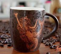 Шоколадная керамическая чашка с золотым принтом Starbucks, фото 1