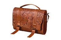Кожаная коричневая сумка с тиснением от украинского производителя