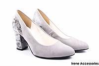 Туфли женские ZanZara эко-замш (изысканные, удобная колодка, каблук, серые, Польша)