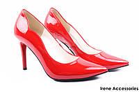 Туфли женские ZanZara эко-лак (изысканные, удобная колодка, каблук, шпилька, красные, Польша)
