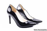 Туфли женские ZanZara эко-лак (изысканные, удобная колодка, каблук, шпилька, черные, Польша)