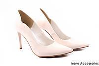 Туфли женские ZanZara эко-лак (изысканные, удобная колодка, каблук, шпилька, беж, Польша)