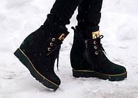 Ботинки высокие из натуральной замши, черные