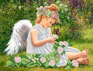 Ангел в саду, РКП-332, Ткань с рисунком для вышивания бисером
