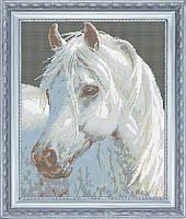 Белогривая лошадка, ЖБп3-6. Схема на ткани для вышивки бисером