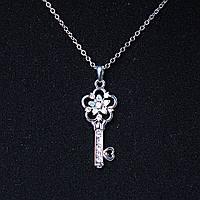 [35х15 мм.] Кулон подвеска на цепочке Ключик цветочный, металл Silver со стразами