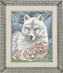 Волчья семья, ЖБп3-2 Схема на ткани для вышивки бисером